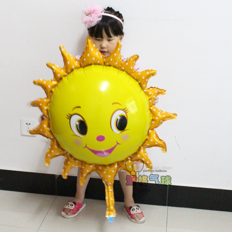 New arrival 50pcs/lot 78*90cm big size Sun flower Foil Balloons Smiley Sunshine Sun Aluminum Balloon Birthday Wedding Decoration<br><br>Aliexpress