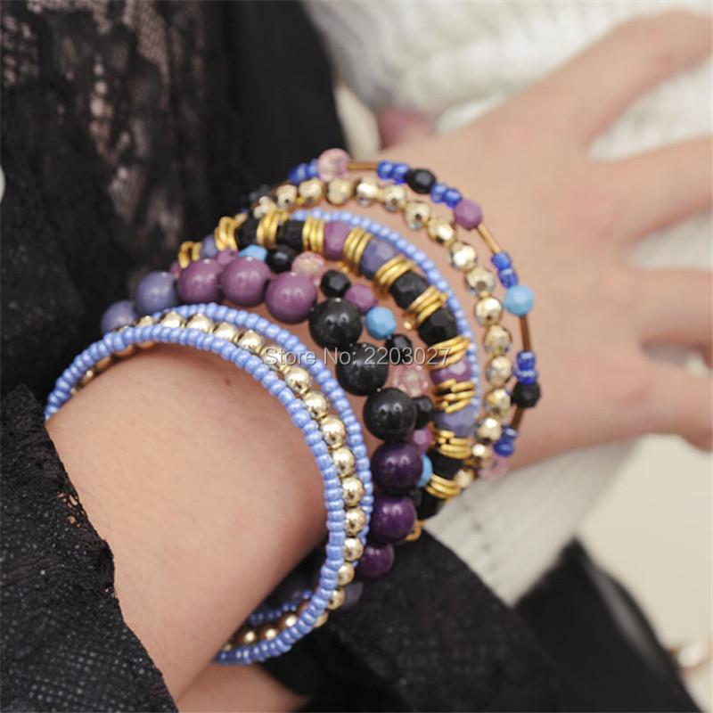 Fashion Euro Bohemia Style Multilayer Rhinestone Gem Beads Bangles Fashion Bracelets for Women(China (Mainland))