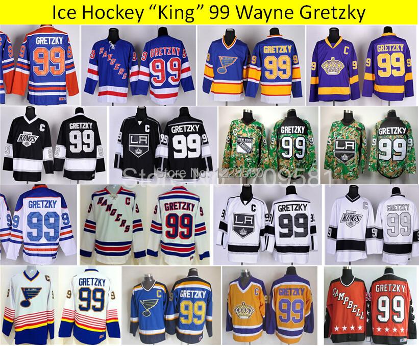 Cheap Ice Hockey Jerseys Throwback Mens Wayne Gretzky Jersey 99 New York Rangers St. Louis Blues LA Los Angeles Kings (China (Mainland))