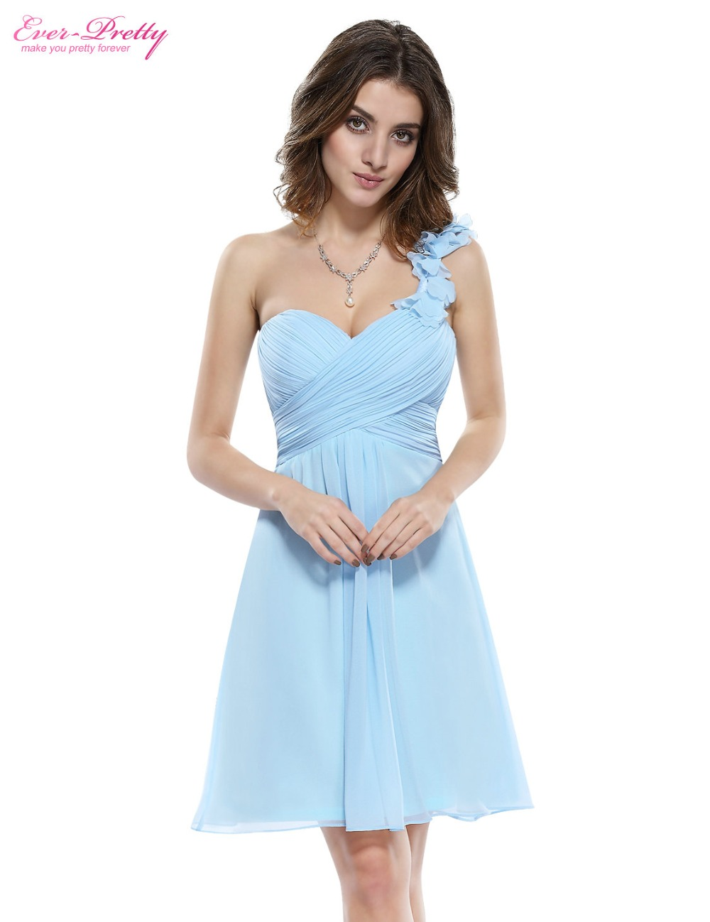 Bridesmaid Party Dresses One Shoulder Flowers Padded Ruffles Short Wedding 2016 3535 Ever Pretty