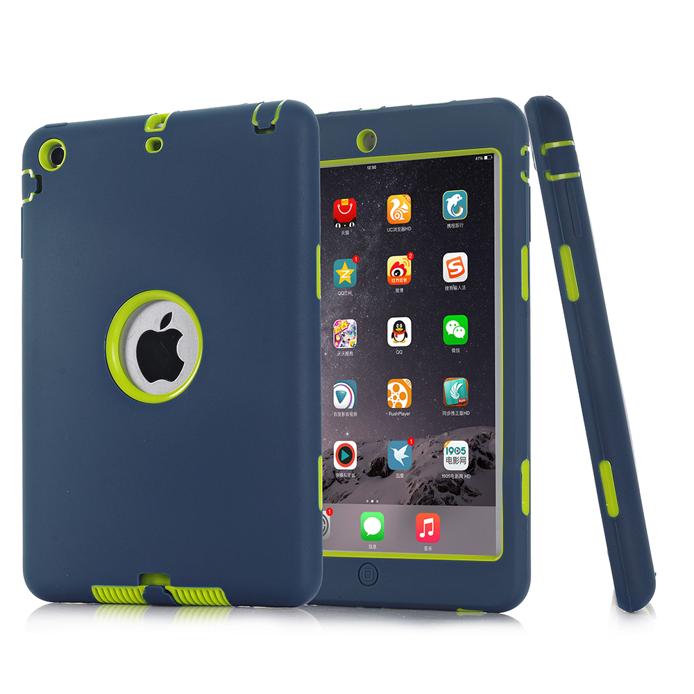 For iPad mini 1 2 3 Retina Kids Baby Safe Armor Shockproof Heavy Duty Silicone Hard +PC tablet Case for ipad case free shipping(China (Mainland))