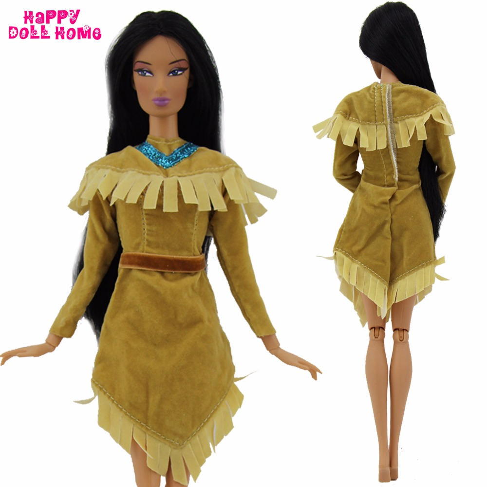1x Magnificence Princess Costume Copy Pocahontas Wedding ceremony Social gathering Robe Unique Indian Outfit Lengthy Sleeves Garments For Barbie Doll Toys Present
