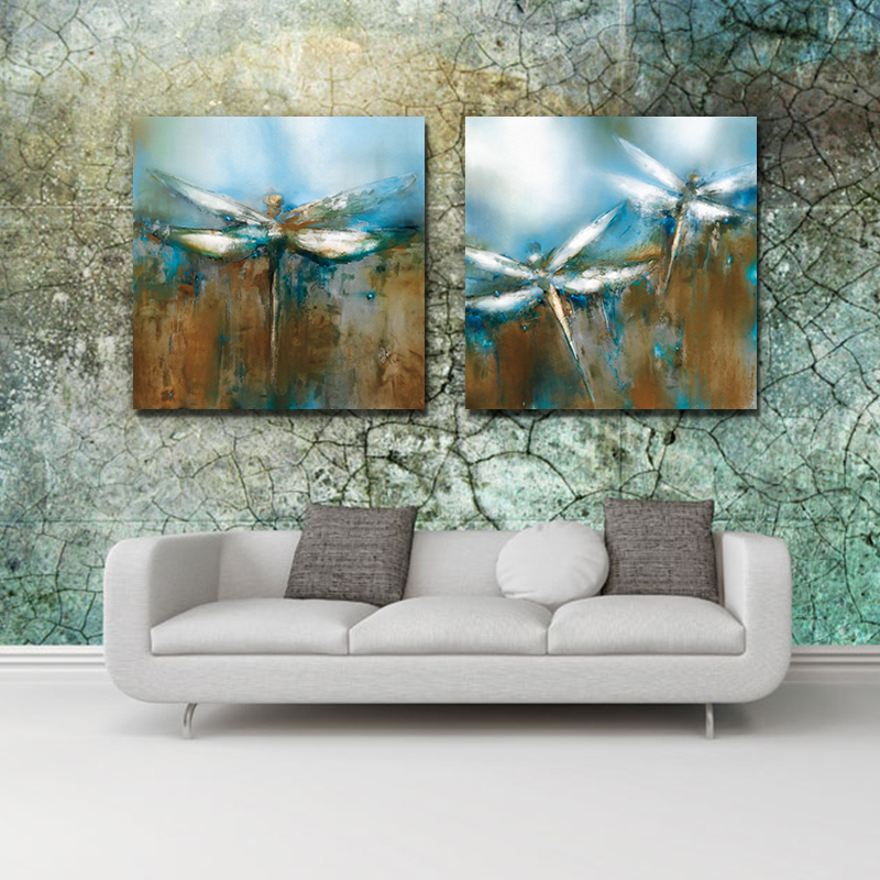 2 Panels Blue and Brown Dragonfly Picture Canvas Print Painting Wall Art Canvas Painting For Home Decor(China (Mainland))