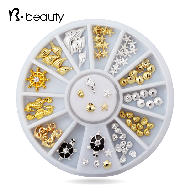 2015 New Ocean Sea Style Shell Conch Tortoise Metal Alloy Nail Wheel Set DIY Beauty Nail Art Decoration Accessories<br><br>Aliexpress