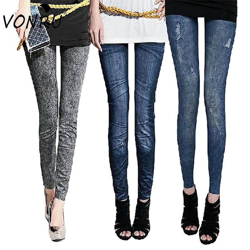 Fashion Design Solid Slim Skinny Printed Thin Denim Leggings for Women Black Blue Fake Jeans Legging Ladies Pencil Pants 1LE9004(China (Mainland))