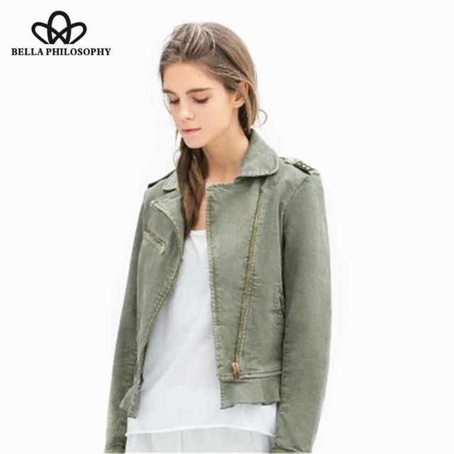 2015 осень зима новый Погон армия зеленый женщины короткие Сафари Куртка молнии пальто