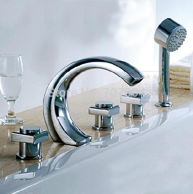 unique design deck mounted waterfall bathroom bathtub