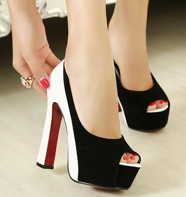 color block peep toe high heels patch high