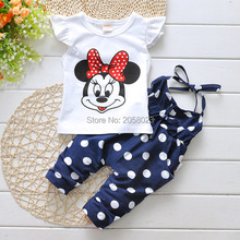 Retail 2016 Summer Style Children Clothes Minnie Dot  Girls Short  Sleeve T-Shirt+Overalls Outfits  Bebes Clothing Vestidos