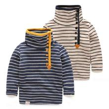 New 2015 Fall/Winter Velvet Lining Turtleneck Striped Children Sweatshirts for Boys Outwear Tops Kids Jackets T61DT20(China (Mainland))
