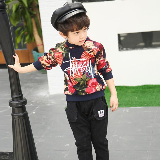 Осенью 2016 новых детей Детские Мальчики свитер тонкий цветочный Куртка-Тонг Вэй одежда бесплатная доставка торговля