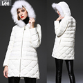 Europe Time limited Polyester 2016 New Lace Stitching Raccoon Collar Free Shipping Straight Hooded Jacket Girls
