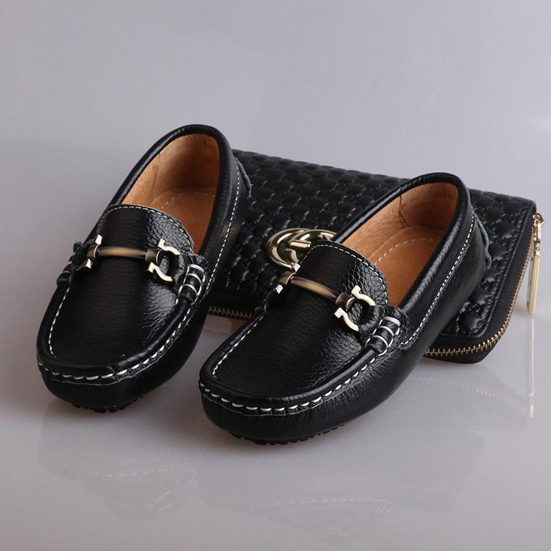 Size 26-35 2016 Autumn Boys Genuine Leather Loafers Children Flat Slip On Casual Black Formal Kids Loafer Shoes(China (Mainland))