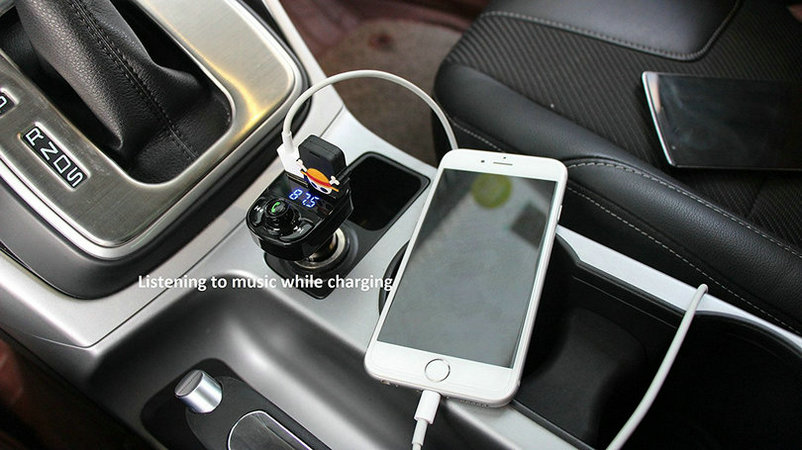 Dual USB Car Charger Bluetooth Car Kit (6)