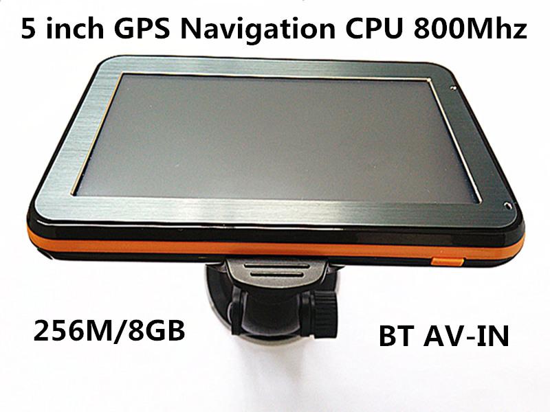 Wholesale 5 inch Car GPS Navigation CPU800M+Bluetooth AV-IN+256M/8GB+FM transmitter+Multi-languages+Free latest Maps,10pcs/pack(China (Mainland))