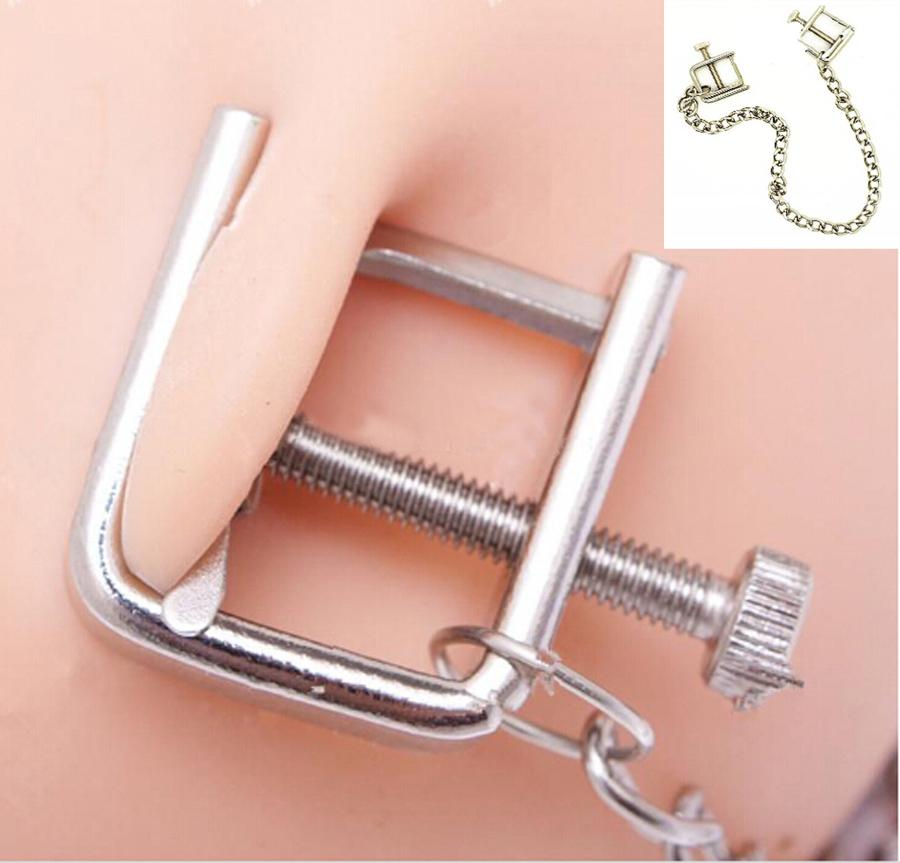 Female Adjustable Stainless Steel Bondage Rings Of Nipple Press Clips Clamps Kit Device Stimulator Breast BDSM Fetish Sex Toys(China (Mainland))