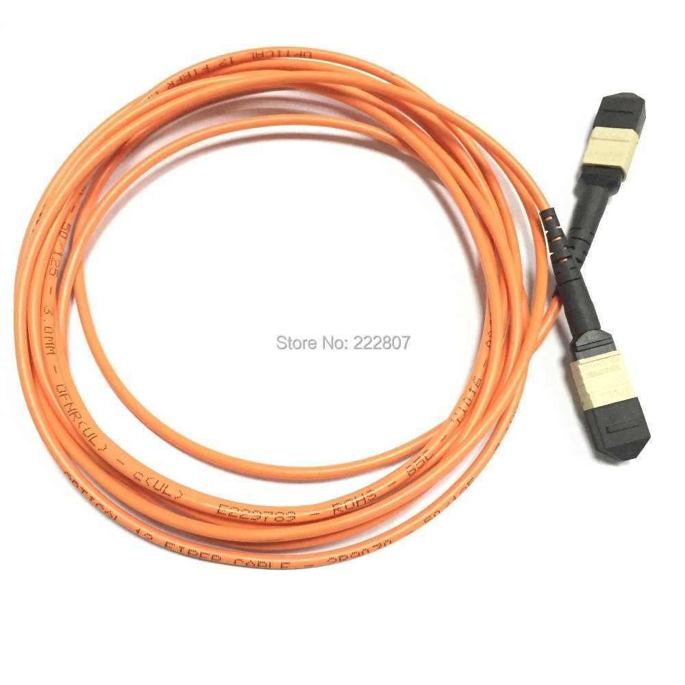 Optical fiber MPO-MPO 12-Fiber Patch Cable, Female,OM4 Multimode 50/125um PVC Jacketr 3meter - Shenzhen ikway Technology Co.,Ltd store