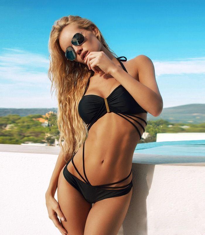 Sexy Ladies Bandage Bikini Push up Padded Bra Swimsuit Strappy Suit Swimwear IFS