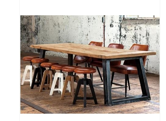 LOFT American country style wrought iron design to do the old solid wood table wood table desk office furniture(China (Mainland))