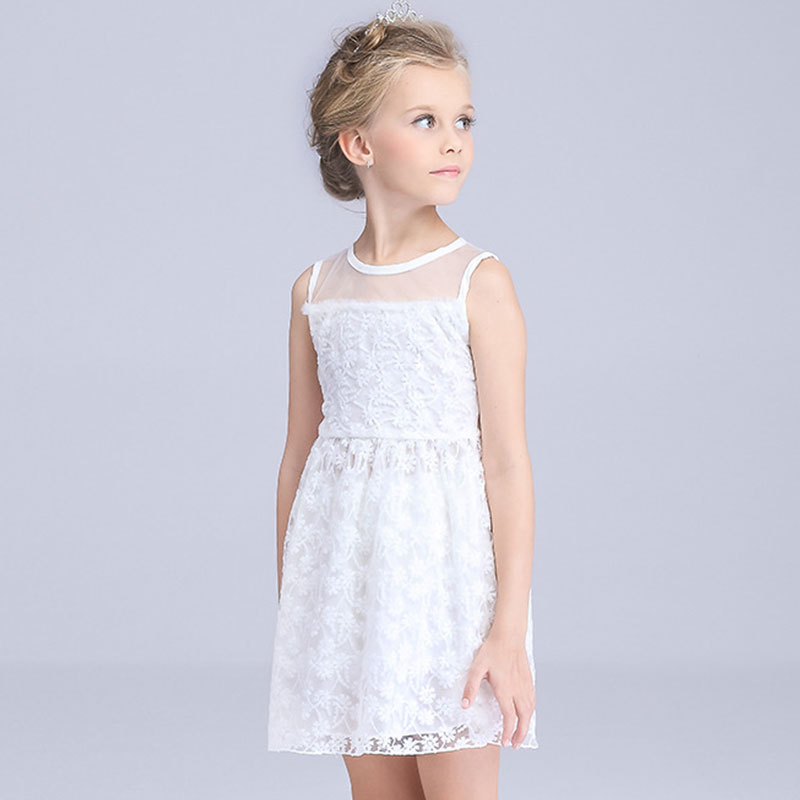 HOT 2016 summer kids girl white Princess Dresses party Dress Child Clothes girl Clothing cute girls dress for children(China (Mainland))