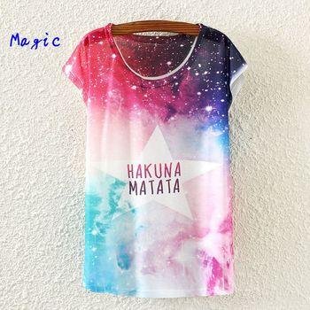 [ magia ] 2015 Hot nueva corto manga de la camiseta mujeres camisa de algodón ocasional camiseta de las flores / letras imprimir tops verano blusa 21 color