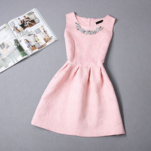 2016 Fashion women dress sleeveless vintage summer dress new arrival party dresses hot sale print dresses  vestidos(China (Mainland))