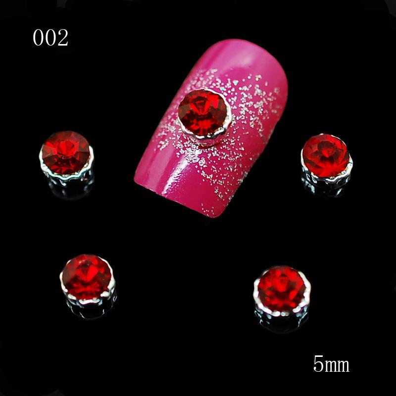 002 100pcs/lot 3D Red Alloy Rhinestone Women Fashion Nail Metal Alloy Nail Art DIY Decoration Accessories Nails(China (Mainland))