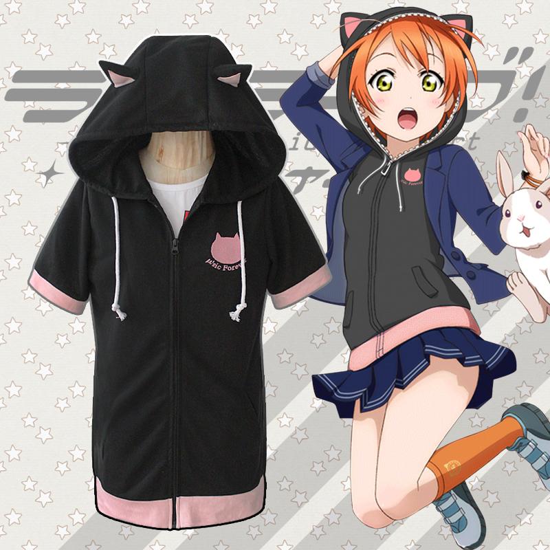 Love Live! Final LoveLive 6th Cosplay Costume Rin Hoshizora Short Sleeve Hooded Hoodie Cat Ears Coat Sixz S-XXL(China (Mainland))