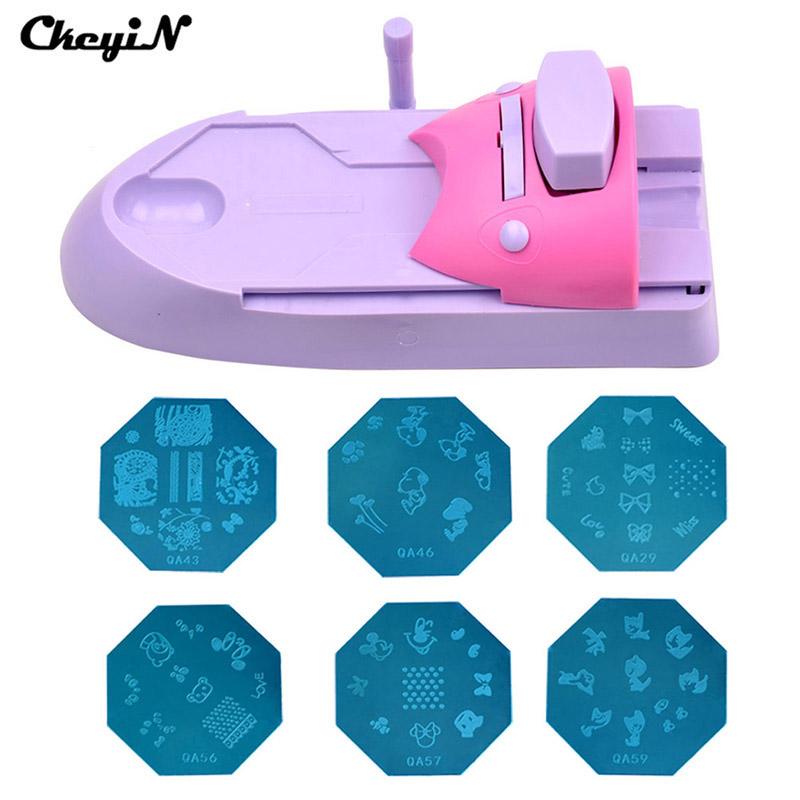 Nail Art Printer DIY Pattern Stamping Printing Machine + 6 Metal Pattern Plates Colors Drawing Nail Printer Nail Art Tools 4249(China (Mainland))