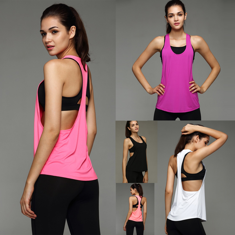 Summer Sexy Women's Tank Tops Quick Drying Loose Brethable Fitness Sleeveless Vest Workout Top Exercise T-shirt 8 Colors(China (Mainland))