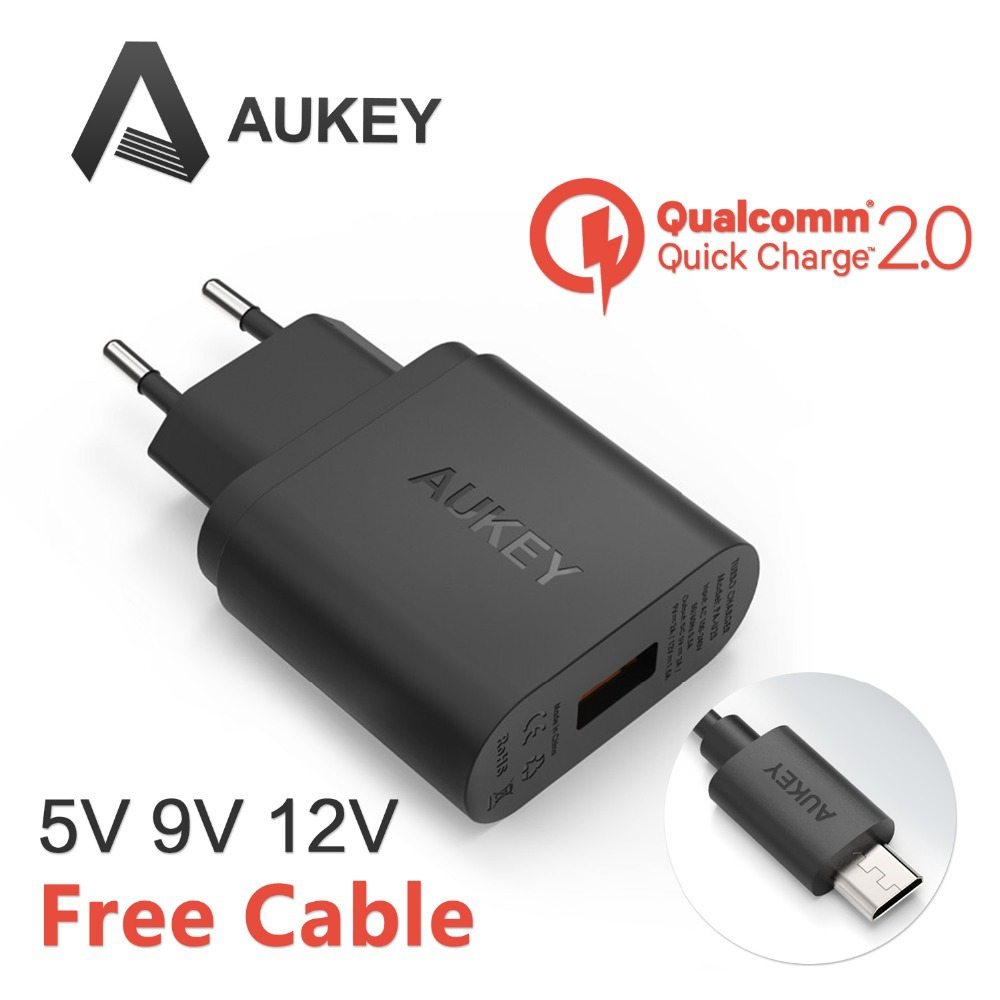 Qualcomm Certified Aukey Quick Charge 2.0 18W USB Turbo Wall Charger Fast Charger For Nexus 6 Note 4 Xperia Z3 SAMSUNG S6 Edge