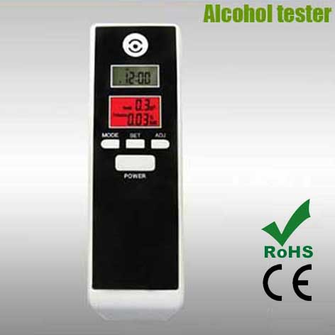 Free Shipping Dual LCD Display Clock Digital Breath Alcohol Tester with Backlight Timer Alarm Clock with Red Back Light AT-052L(China (Mainland))