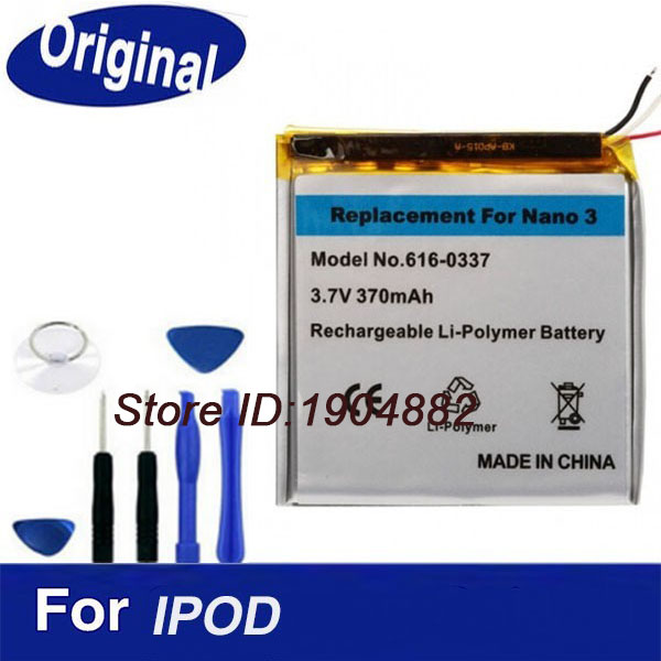 100% Original Battery For Ipod Nano 3 3rd 370mAh Replacement Built-in lithium Li-ion Batterie Bateria+ Free Tools(China (Mainland))