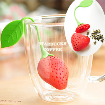 Tea Leaf Strainer Red Lovely Silicone Strawberry Tea Bag Ball Stick Loose Herbal Spice Infuser Filter Tea Reuseable Tool JJ0008(China (Mainland))