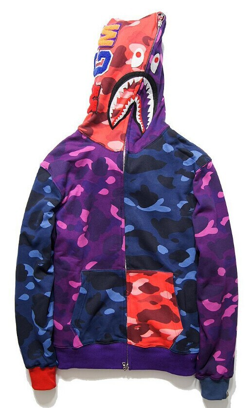 2015 autumn brand new bape camouflage boy's men's shark  Hoodies Sweatshirts jacket(China (Mainland))