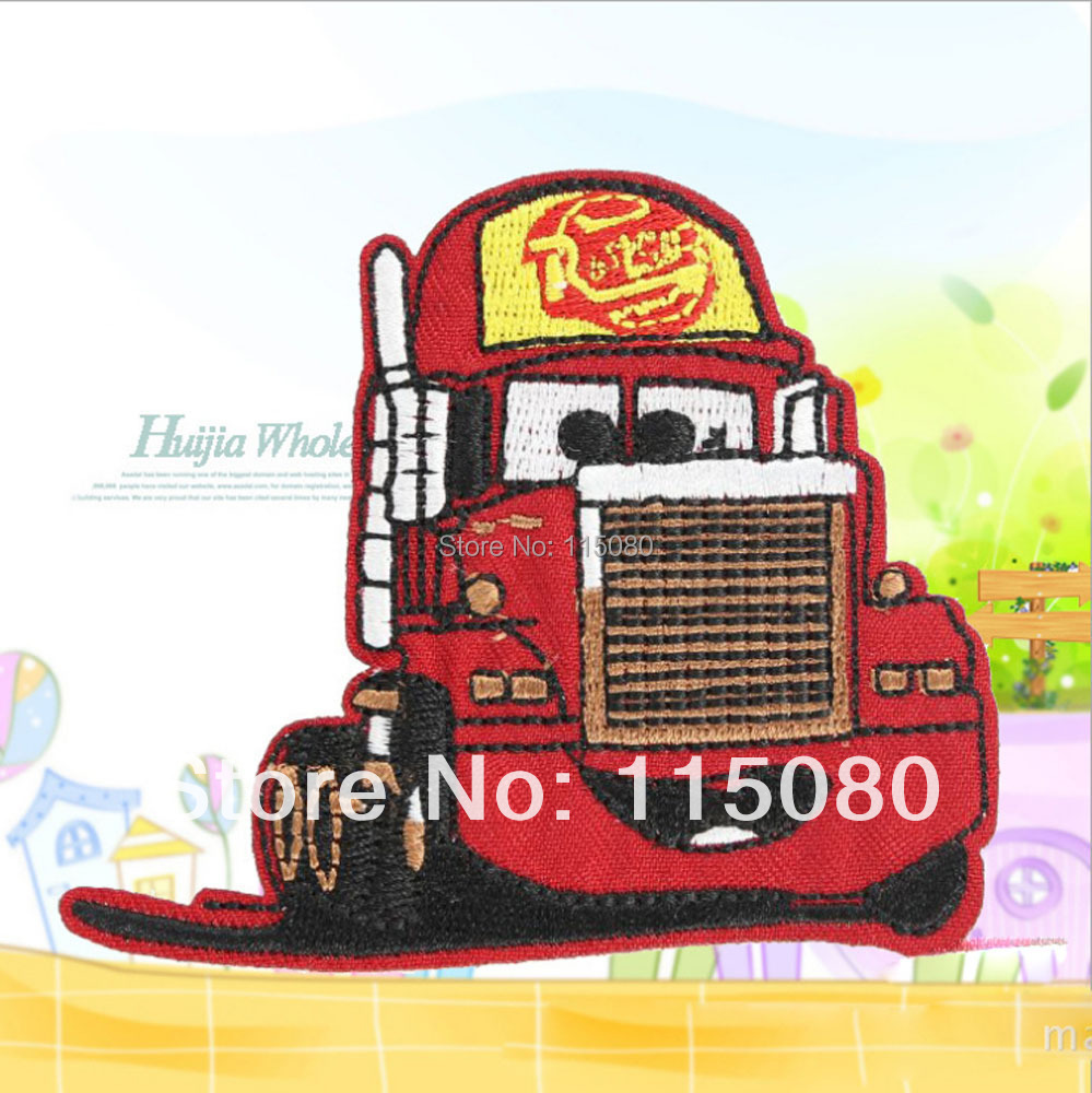 Wholesale lots 20pcs cartoon cars Mack fabric Embroidered Motif patch garment badge embroidery sew-on or Iron-On Appliques(China (Mainland))