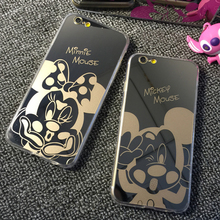Hot New Mirror Style Cute Sweet Mickey Minnie Mouse TPU Mobile Phone Cases Cover For iPhone 5 5G 5S 6 6G 6S 4.7 6Plus 5.5 Inch(China (Mainland))