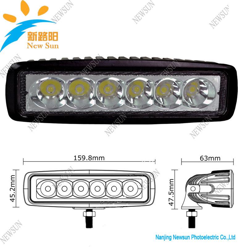 12V 24V 6x3W 18W LED Worklight Car Boat Off Road Light Slim Bar Spot Beam White Truck 4x4 Tractor Driving Working Light Lamp(China (Mainland))