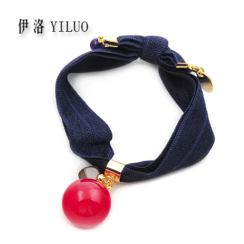 Women Hair Accessories Acetate Ball Hair Ties Metal Beeds Ponytail Holder Elastic Hair Bands For Women Hair Rope For Girls(China (Mainland))