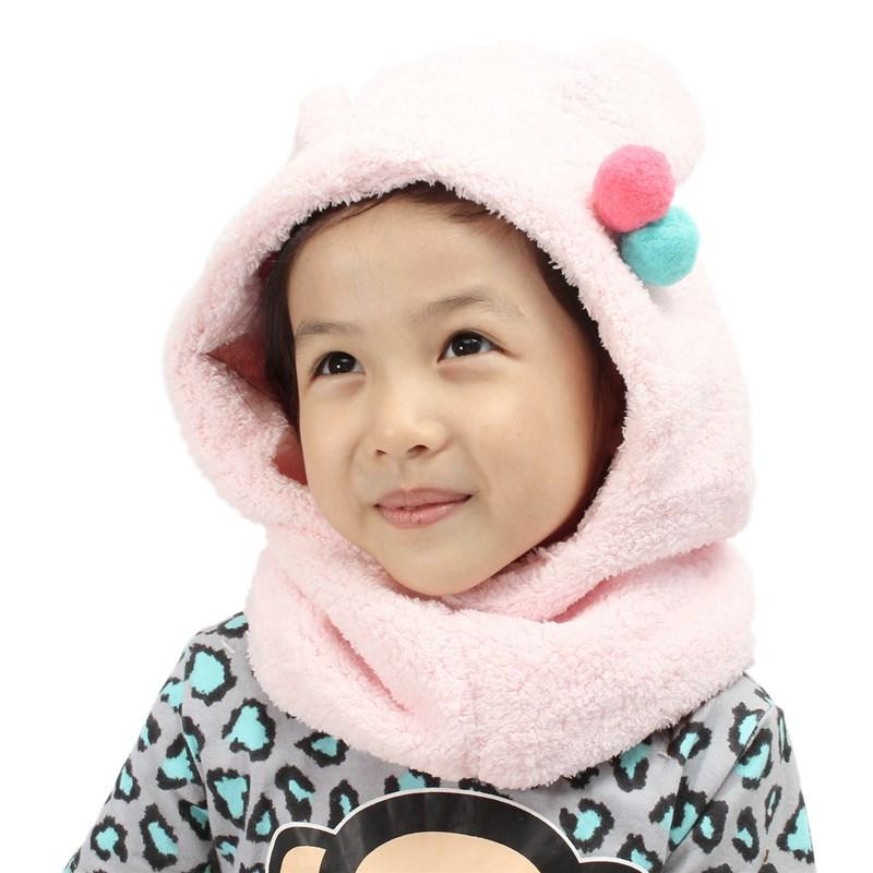 Promotion On Sale Children Coif Hood Scarf Set Winter Warm Hooded Toddler Infant Kid Baby Cap Boy Girl Fleece Soft Warm Hat Caps(China (Mainland))