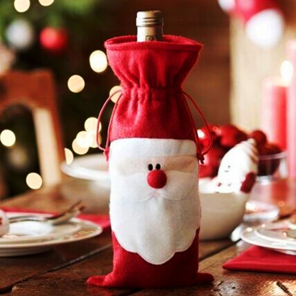 Red Wine Bottle Cover Bags Christmas Dinner Table Decoration Home Party Decors Santa Claus Supplier - Welcome, Sweet store