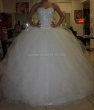 Vestido De Noiva 2015 New Stock Ivory/White US Size 4-22 Beading Crystal Sequins Tulle Ball Gown Wedding Dress Bridal Gown(China (Mainland))