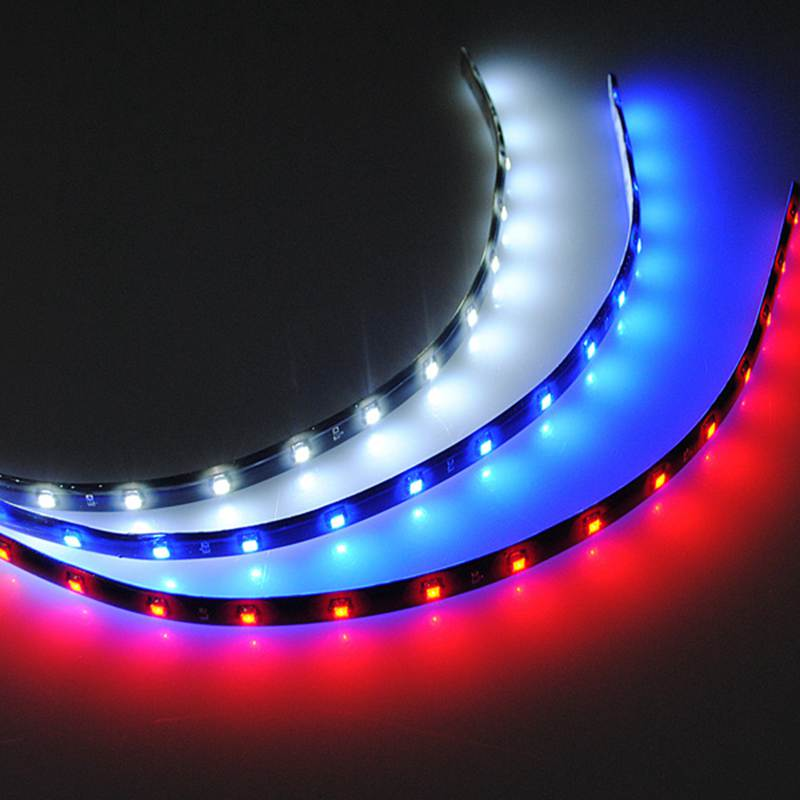 High Quality 30cm 15 LED 3528 SMD Car Auto Flexible Neon Light Strip Decoration Lamp DC12V Red Blue White(China (Mainland))
