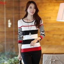 2016 Winter Casual Long Sleeve Stripe Wool Sweater For Women Spring Basic Thin Pullover Ladies Winter Sweaters Blue Red 20698(China (Mainland))