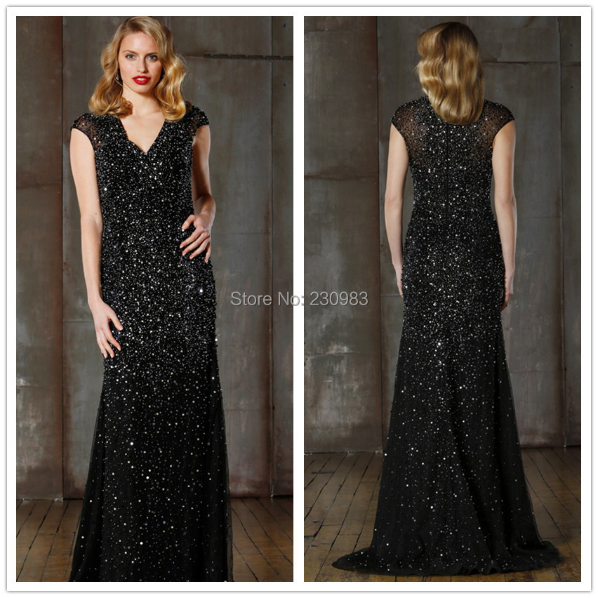 Sparkly Sweetheart shoulder Fully Beaded Sequined Black A-Line Evening Dresses 2014 Prom Pageant Gowns - Abby's Bridal Studio store
