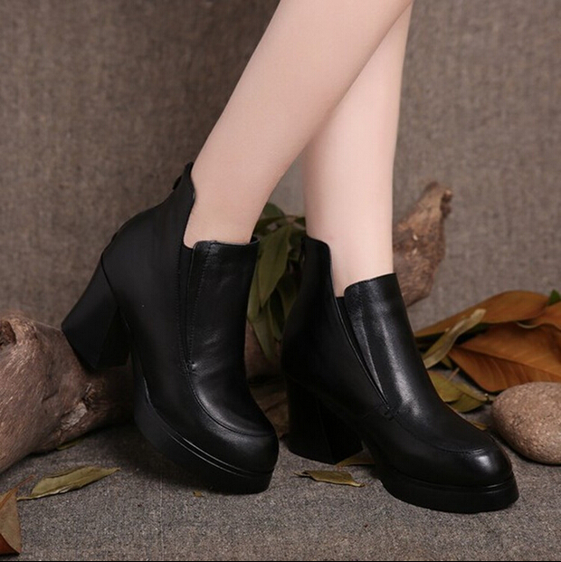 Здесь можно купить  Autumn and winter genuine leather boots plus cotton boots platform shoes thick high-heeled women