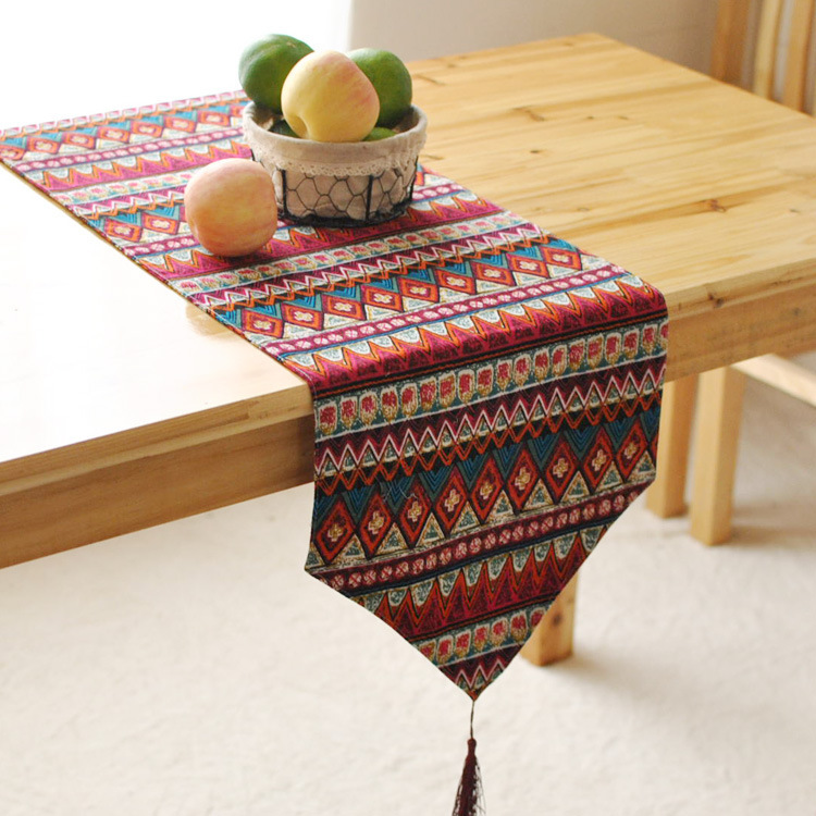 Linen table runner rectangle printing colorful striped zakka style runner for wedding home decor(China (Mainland))
