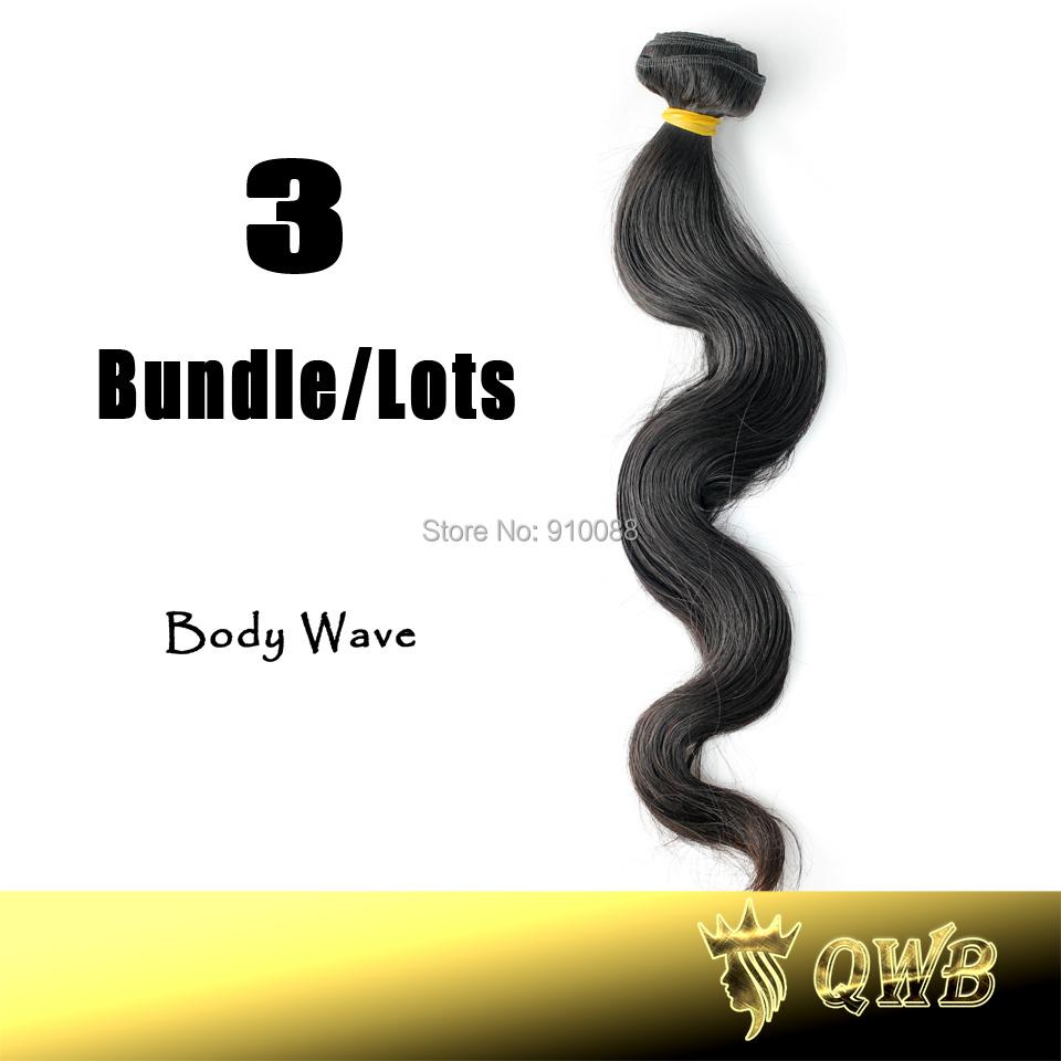Free Shiping 12''~34'' Body Wave 3 Bundle/lots QWB Virgin Brazilian Hair 5A Grade No Corn-Chip Smell(China (Mainland))