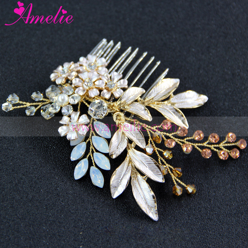 Opal Rhinestone and Enamel Leaf Gold Wedding Hair Comb Bridal Hair Accessories Jewellery Haircomb(China (Mainland))