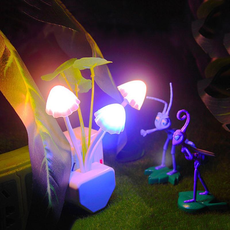 Mini ABS Led Lamp Night Lights EU US Plug Romantic Colorful Dream Mushroom Fungus Lamp Home Decoration Sensor Light for Sale(China (Mainland))